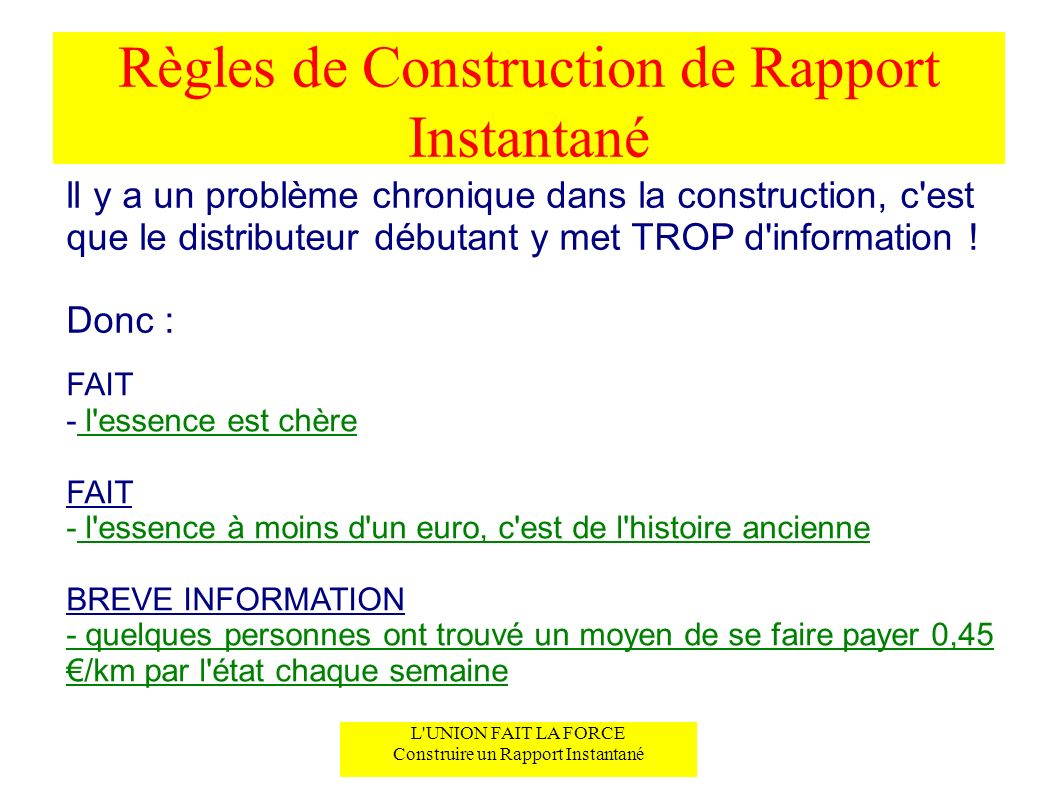 Règles de Construction de Rapport Instantané