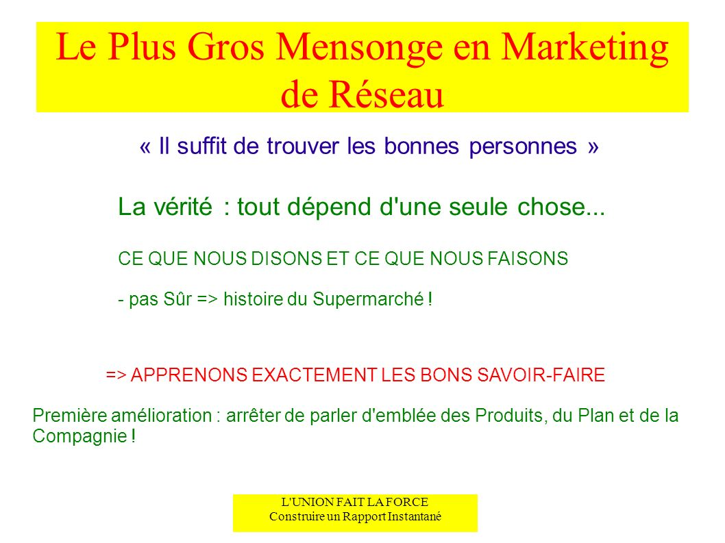 Le Plus Gros Mensonge en Marketing de Réseau