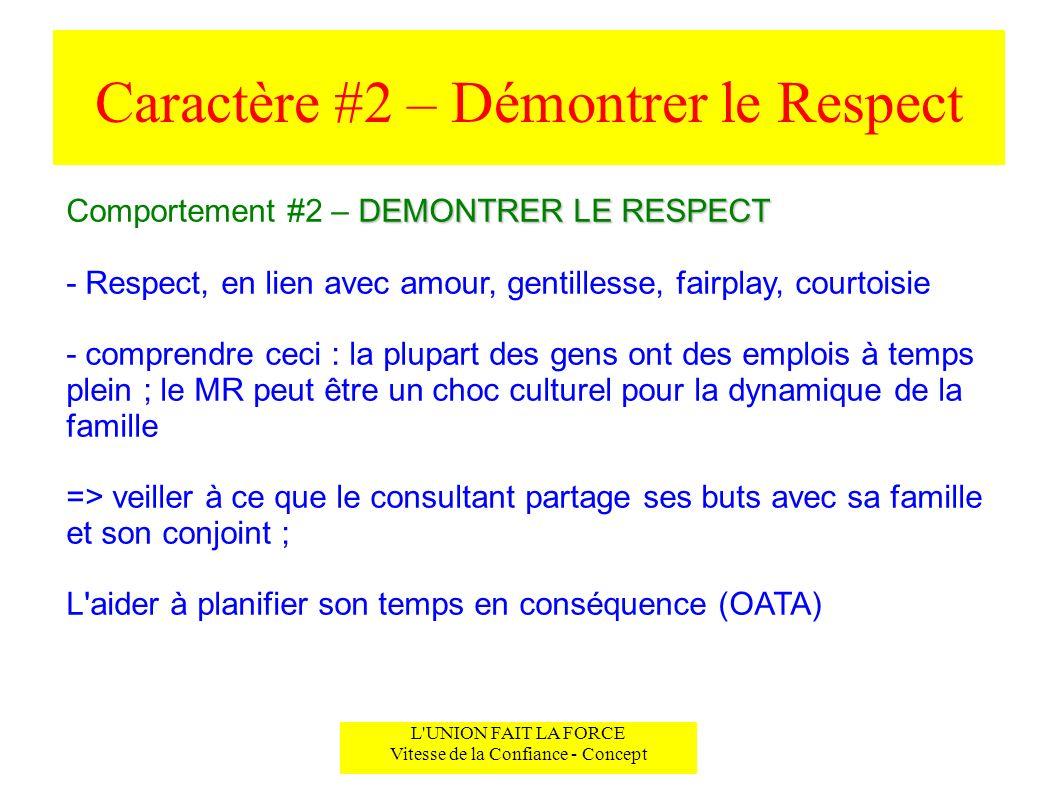 Caractère #2 – Démontrer le Respect