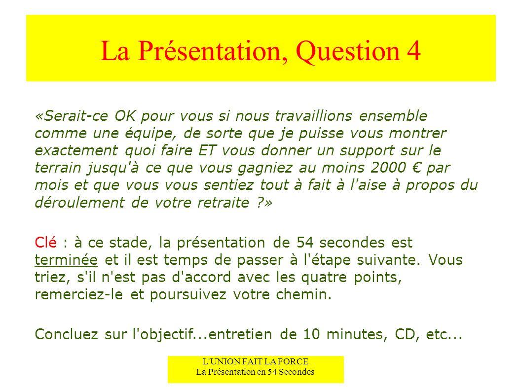 La Présentation, Question 4