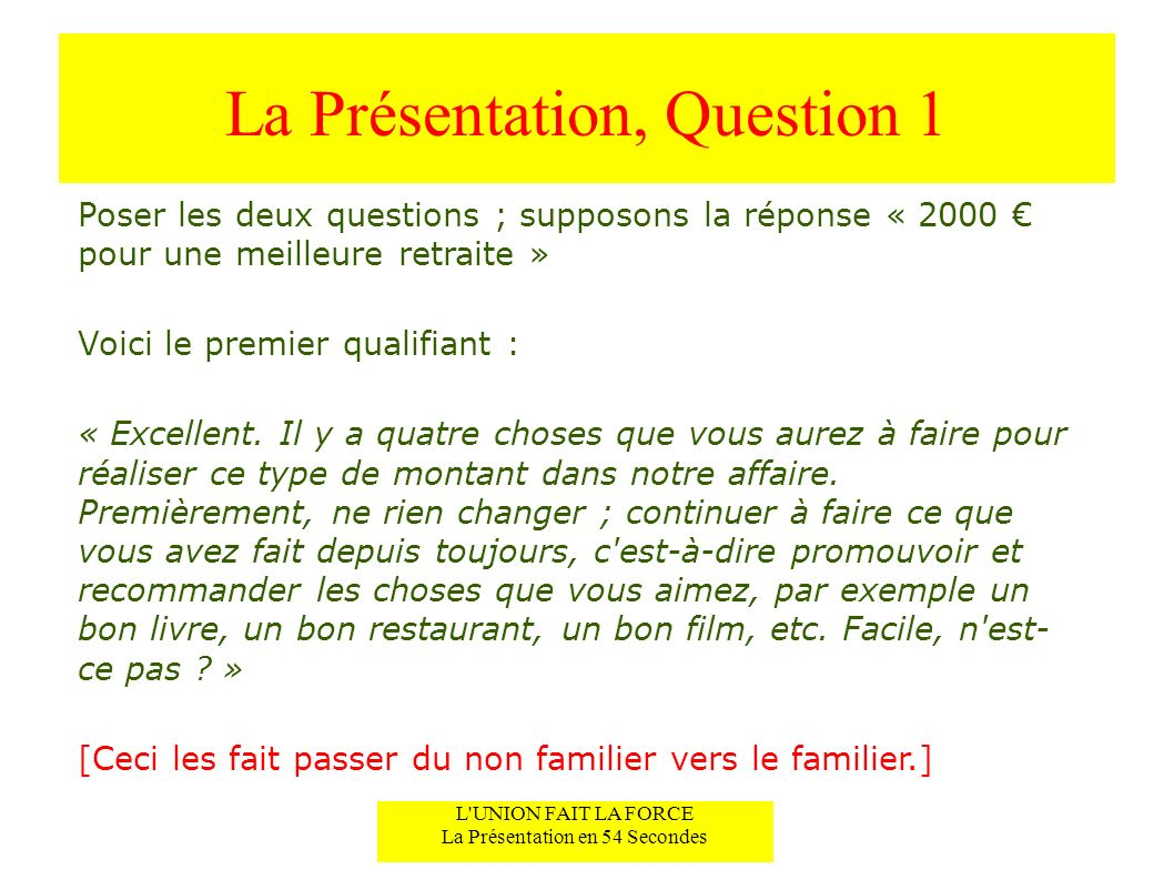 La Présentation, Question 1