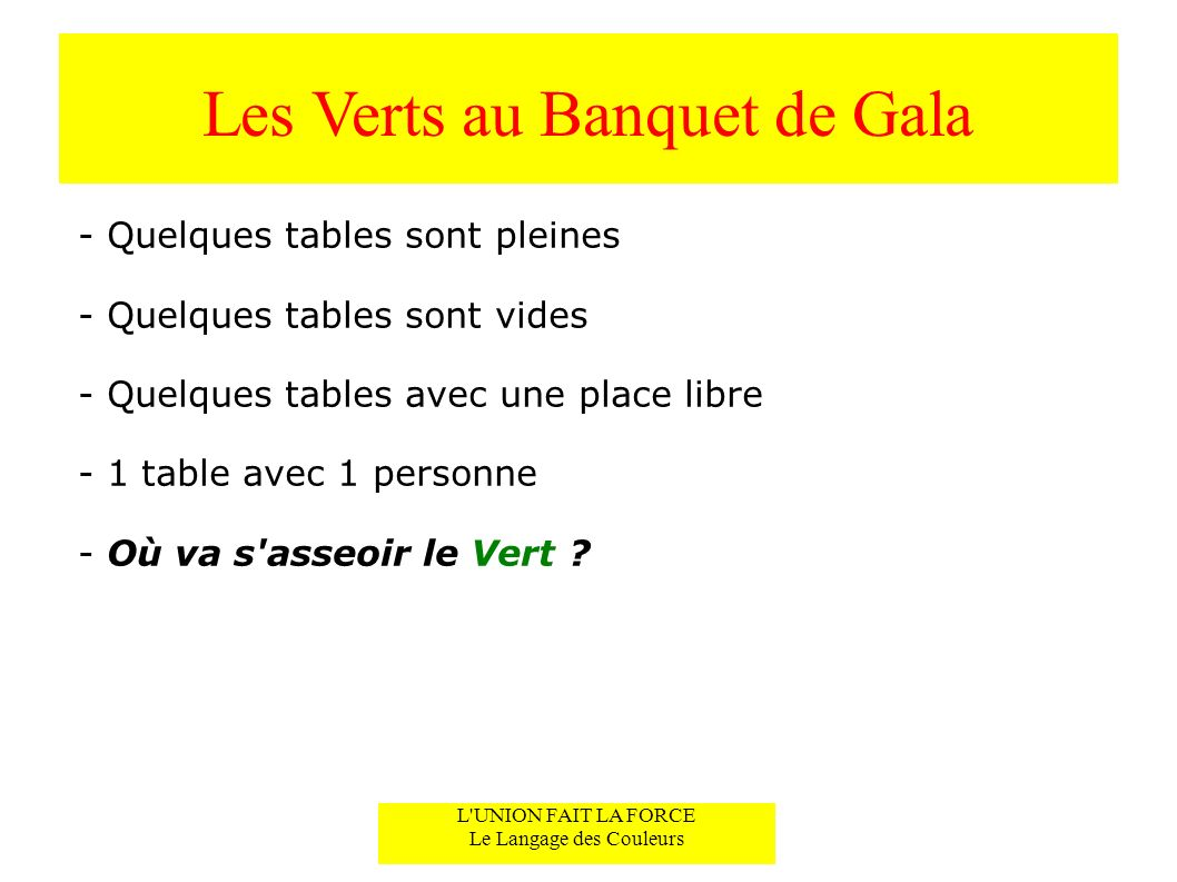 Les Verts au Banquet de Gala