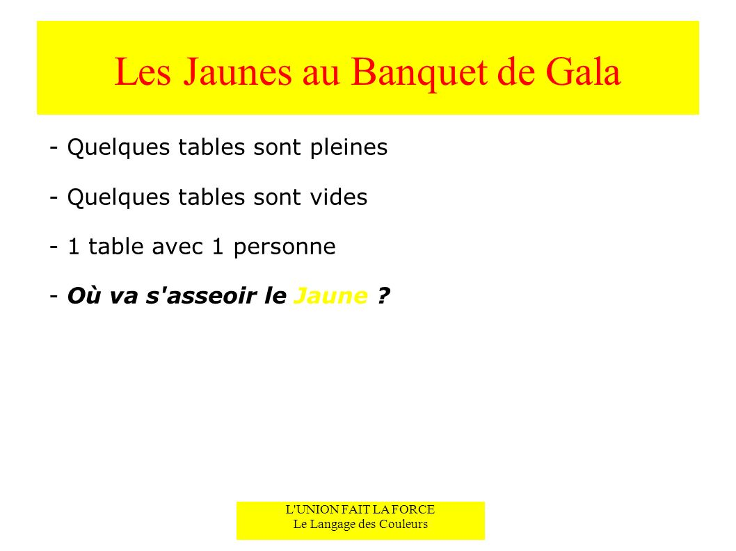 Les Jaunes au Banquet de Gala
