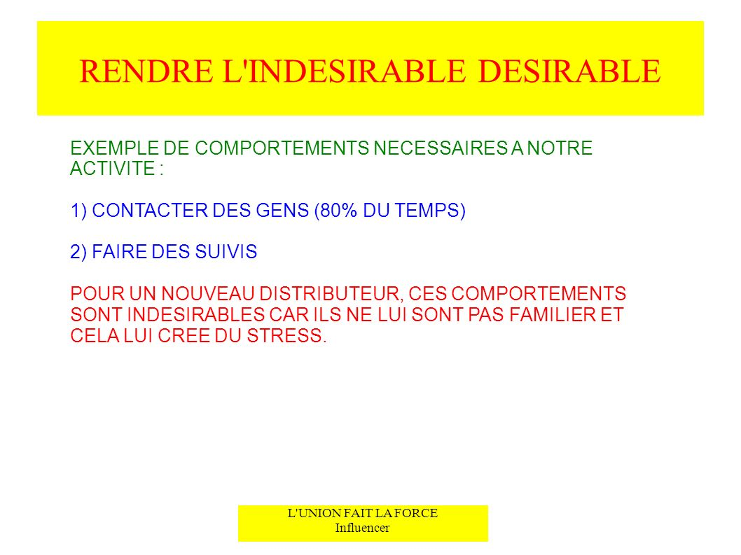 RENDRE L INDESIRABLE DESIRABLE