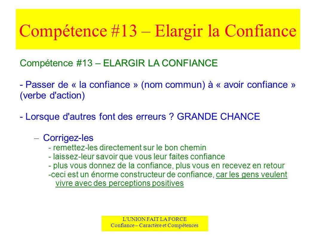 Compétence #13 – Elargir la Confiance