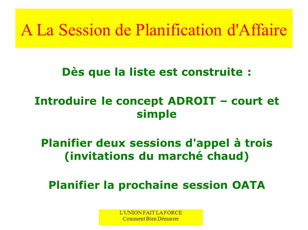 A La Session de Planification d Affaire
