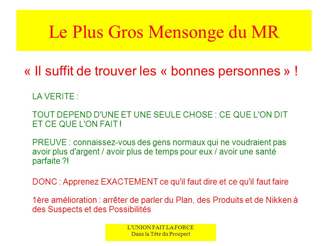 Le Plus Gros Mensonge du MR