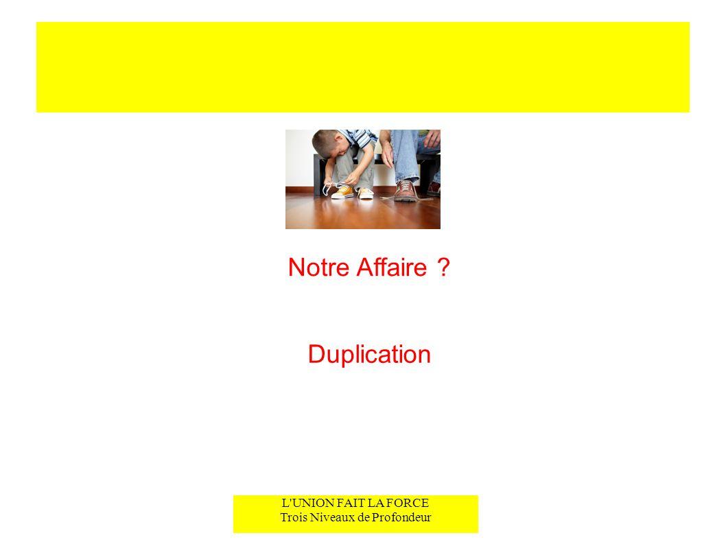 L UNION FAIT LA FORCE Trois Niveaux de Profondeur