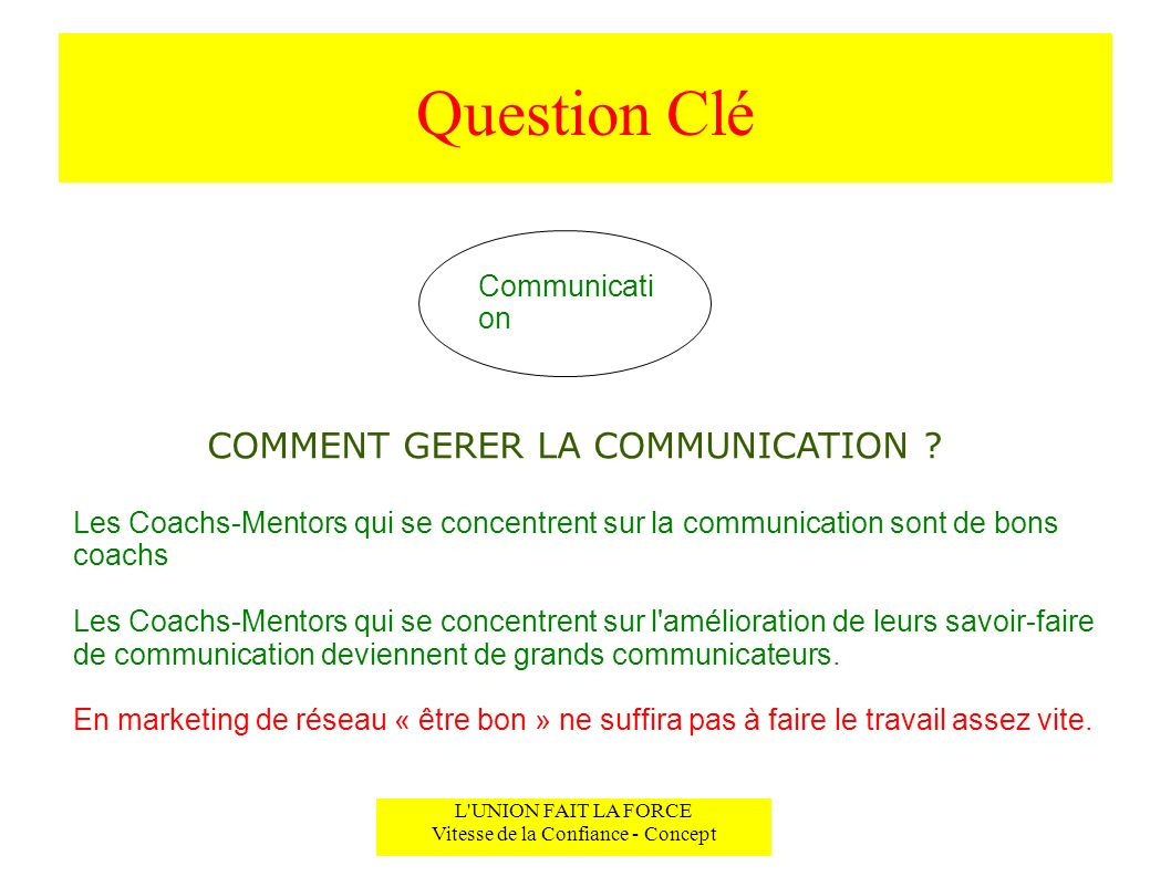 Question Clé COMMENT GERER LA COMMUNICATION Communication
