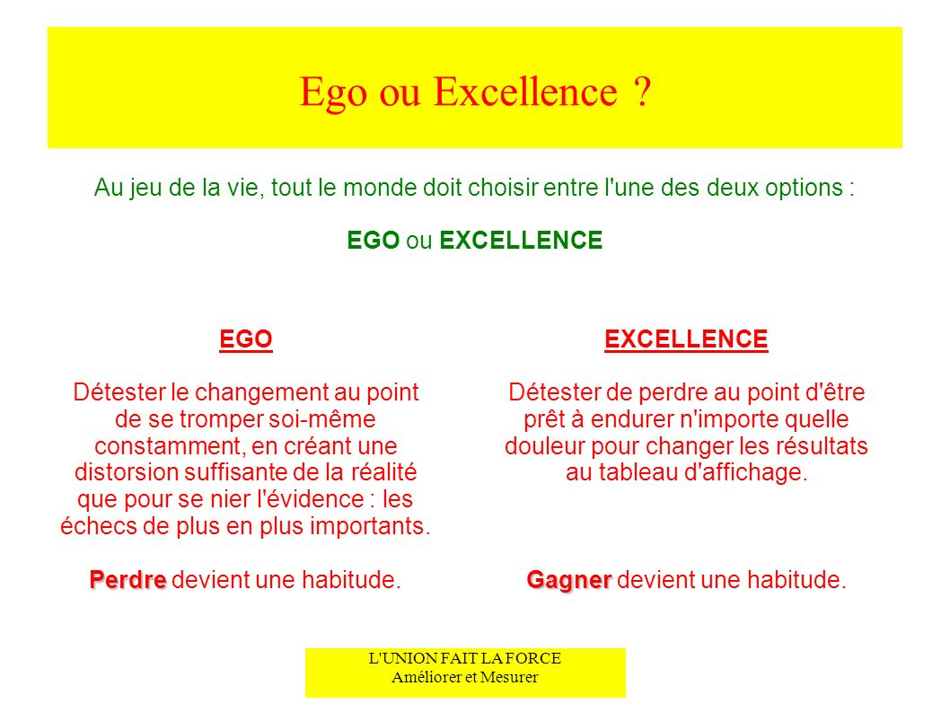 Ego ou Excellence Au jeu de la vie, tout le monde doit choisir entre l une des deux options : EGO ou EXCELLENCE.