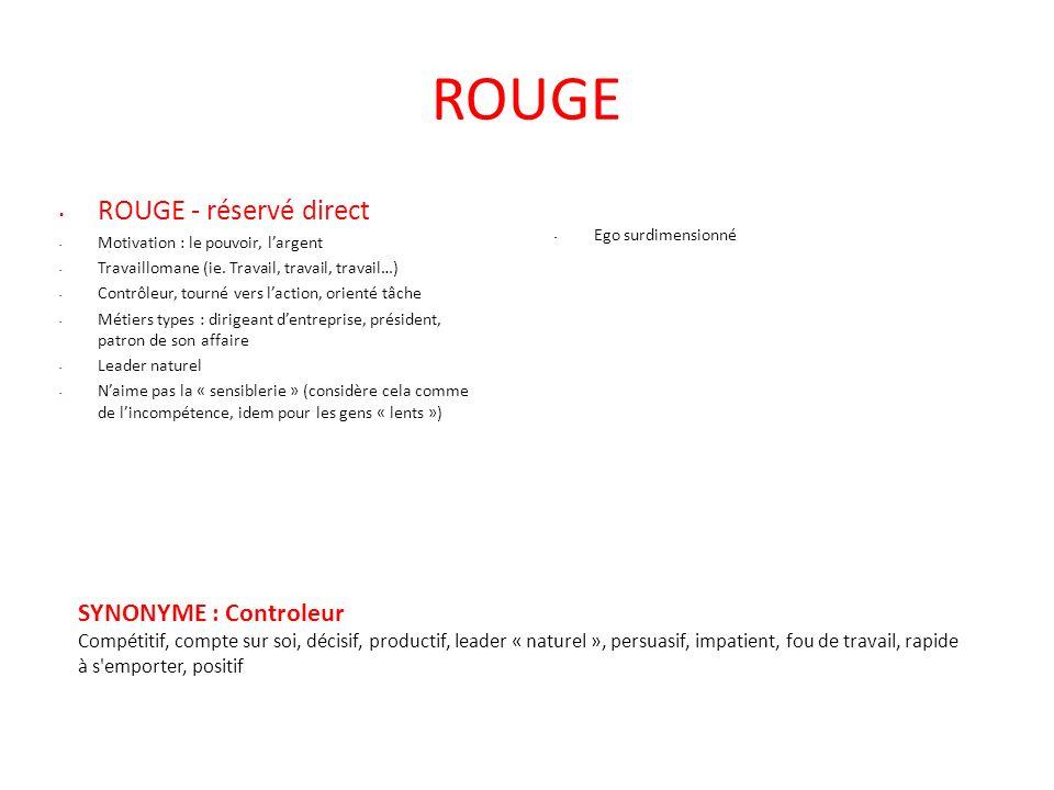 ROUGE ROUGE - réservé direct SYNONYME : Controleur