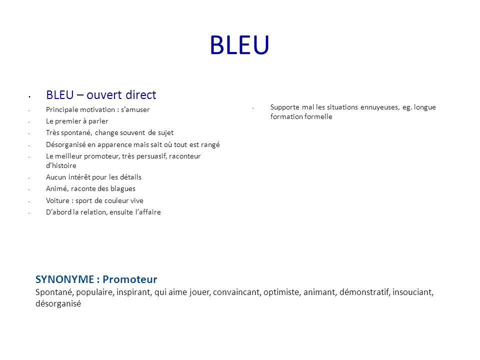 BLEU BLEU – ouvert direct SYNONYME : Promoteur