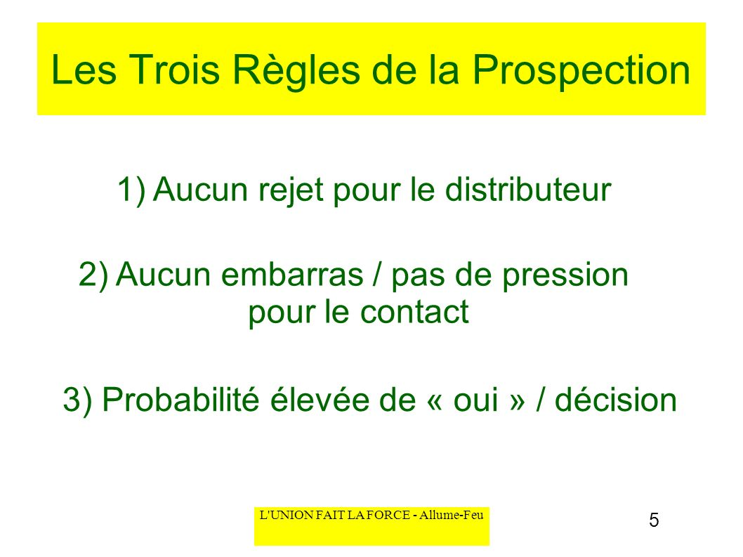 Les Trois Règles de la Prospection