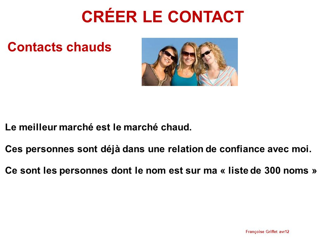 CRÉER LE CONTACT Contacts chauds