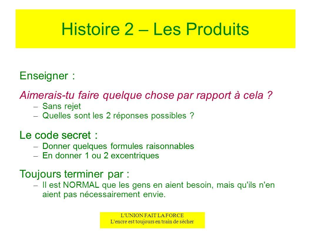 Histoire 2 – Les Produits