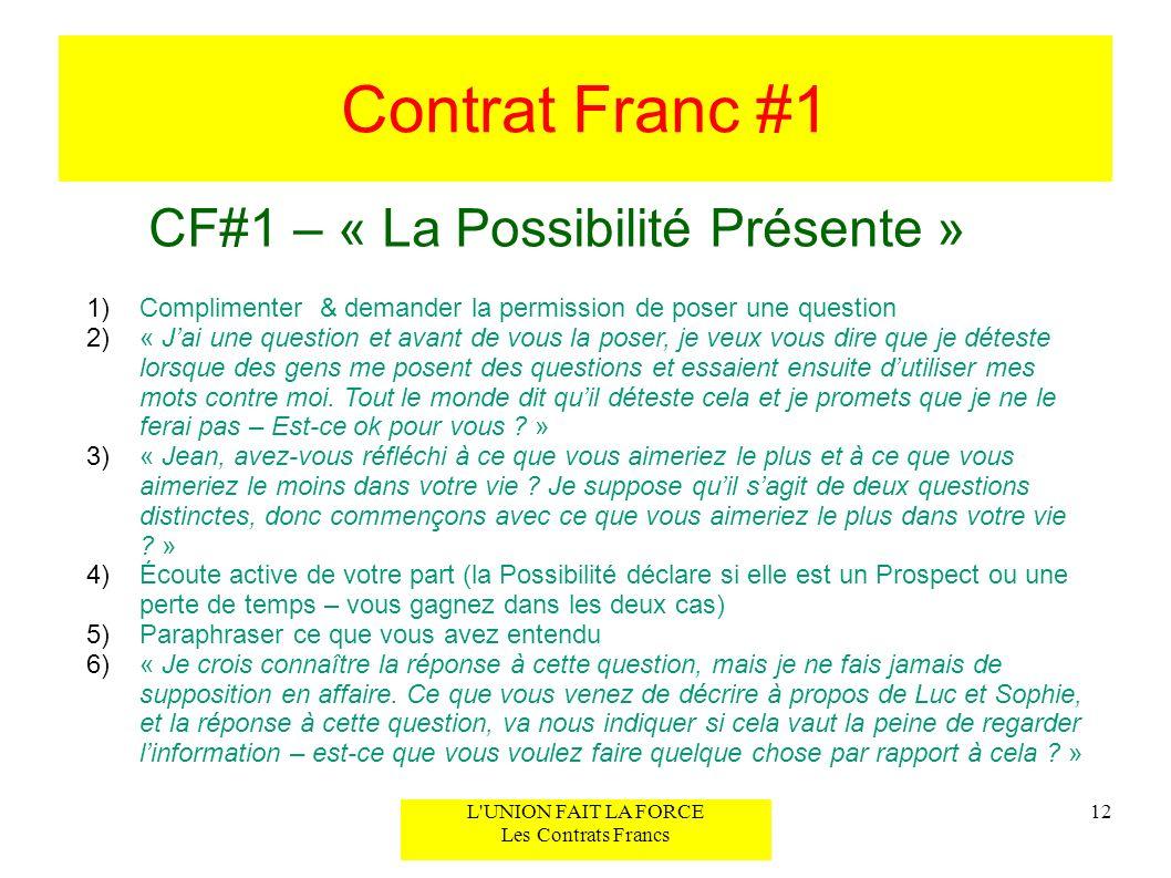 Contrat Franc #1 CF#1 – « La Possibilité Présente »