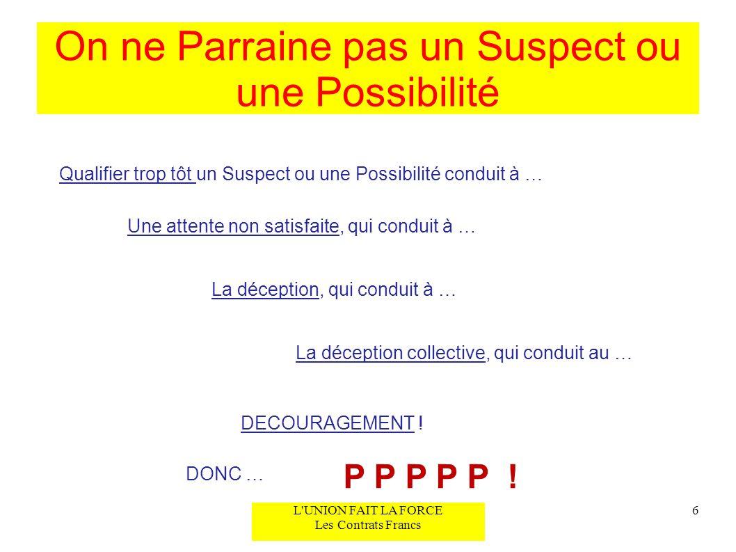On ne Parraine pas un Suspect ou une Possibilité