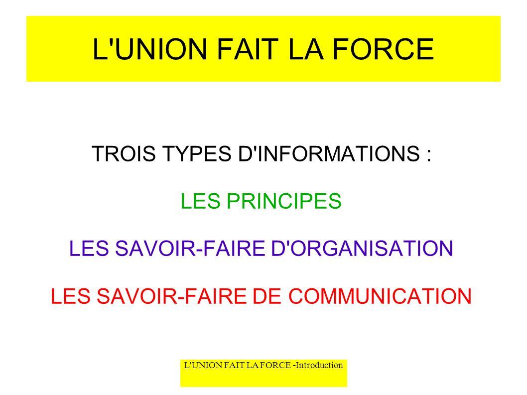 L UNION FAIT LA FORCE TROIS TYPES D INFORMATIONS : LES PRINCIPES