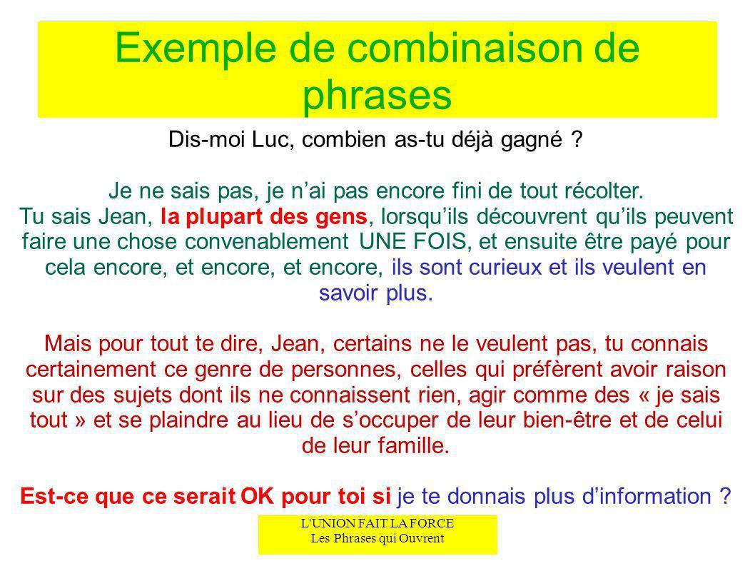Exemple de combinaison de phrases