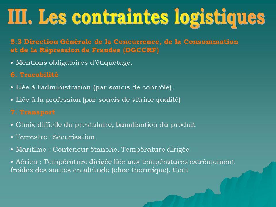 III. Les contraintes logistiques