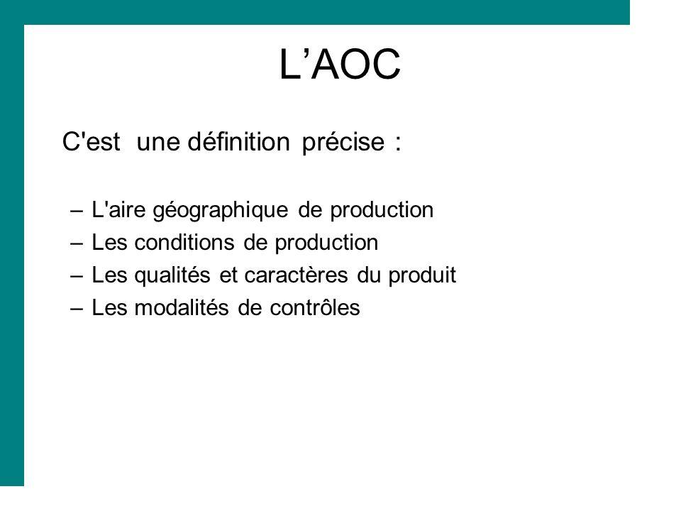 L'AOC C est une définition précise : L aire géographique de production