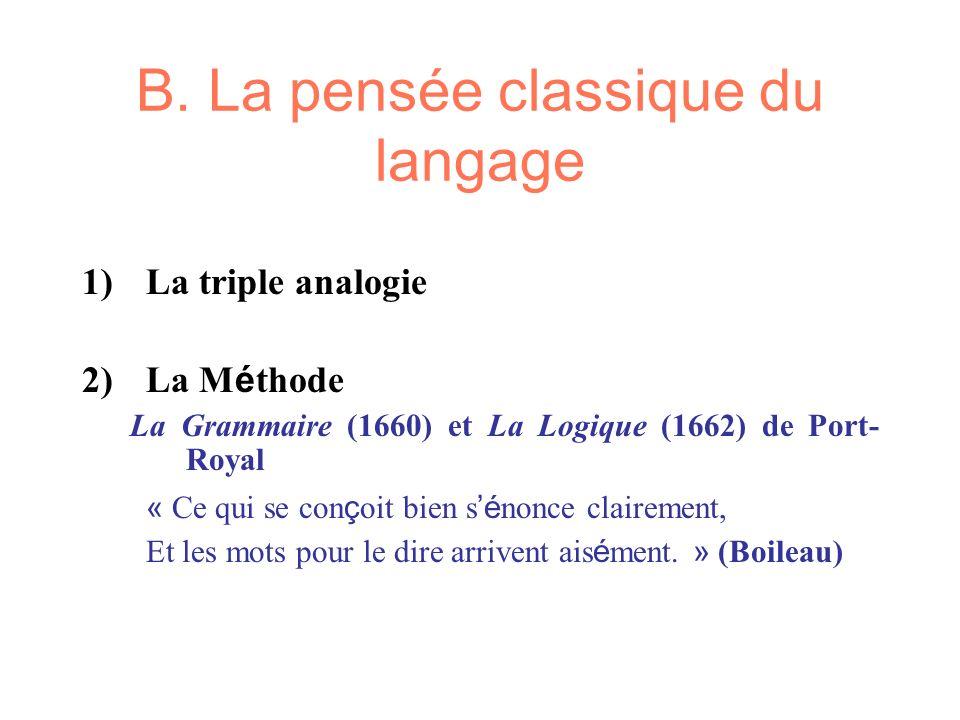 B. La pensée classique du langage