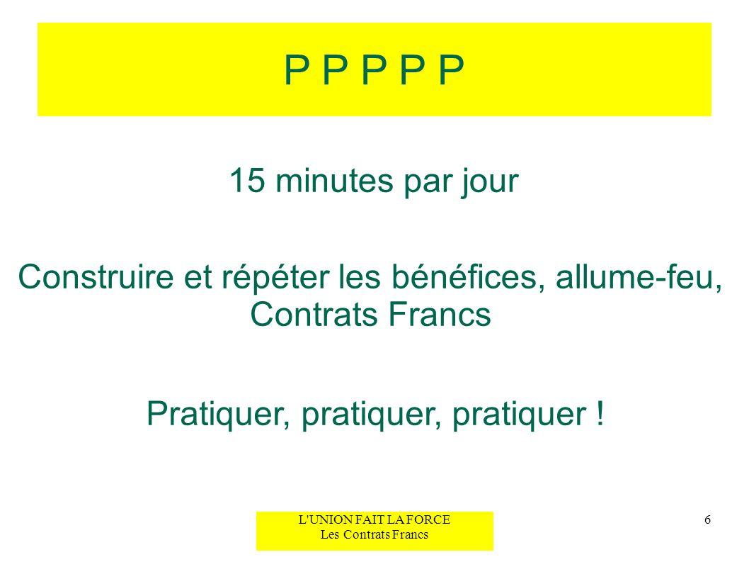 P P P P P 15 minutes par jour. Construire et répéter les bénéfices, allume-feu, Contrats Francs. Pratiquer, pratiquer, pratiquer !