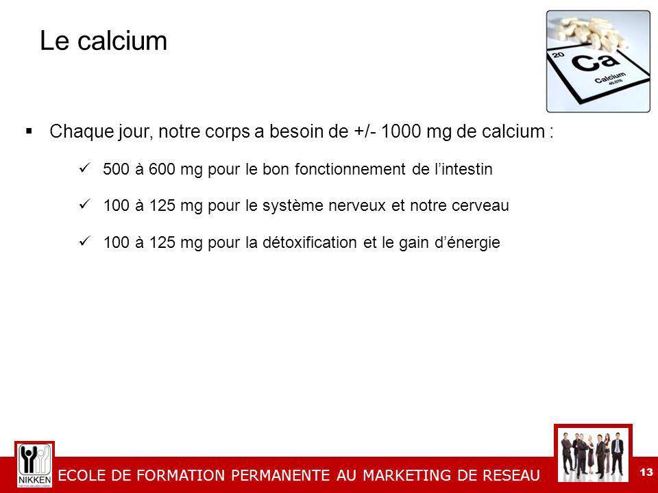 Le calcium Chaque jour, notre corps a besoin de +/- 1000 mg de calcium : 500 à 600 mg pour le bon fonctionnement de l'intestin.