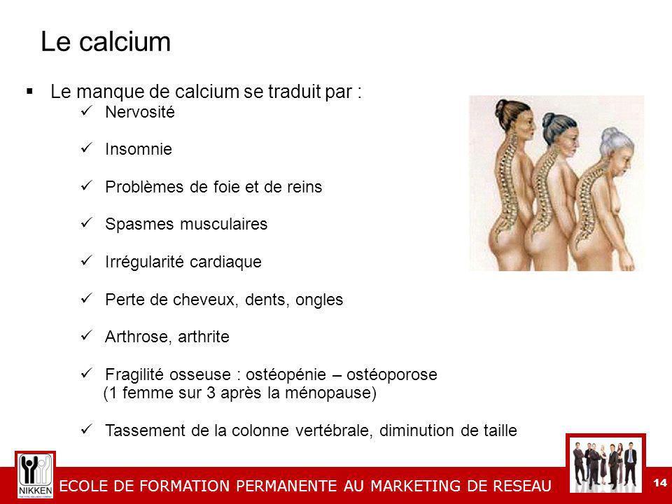 Le calcium Le manque de calcium se traduit par : Nervosité Insomnie