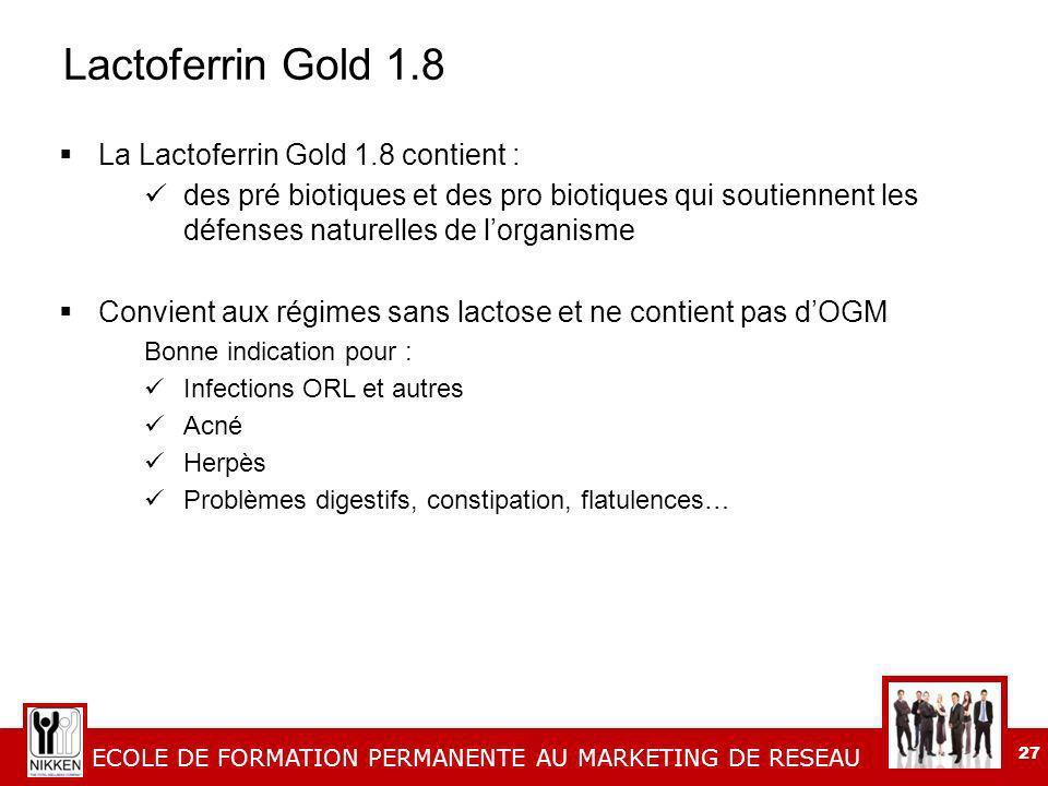 Lactoferrin Gold 1.8 La Lactoferrin Gold 1.8 contient :