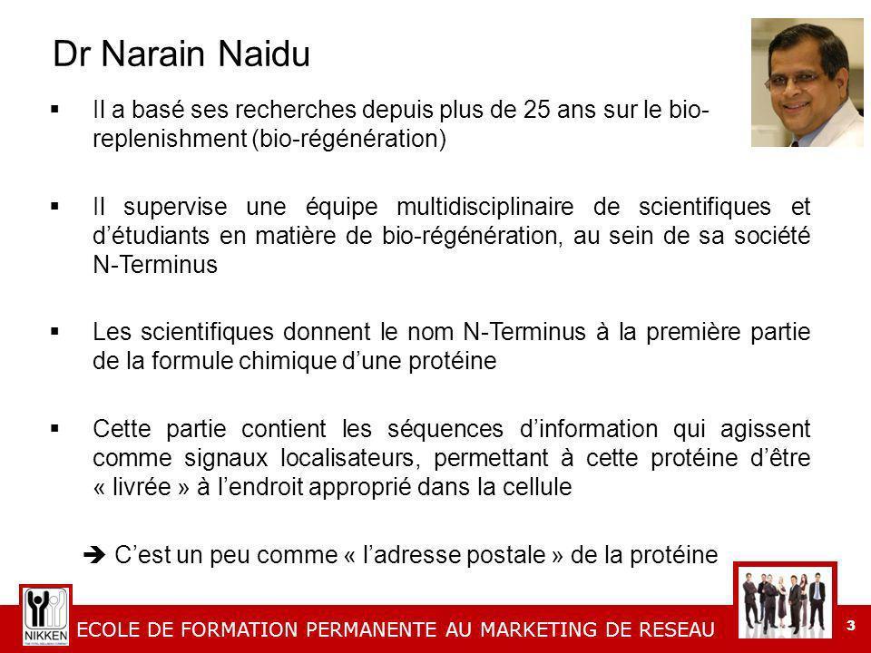 Dr Narain Naidu Il a basé ses recherches depuis plus de 25 ans sur le bio- replenishment (bio-régénération)