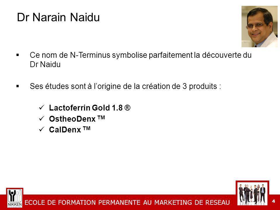 Dr Narain Naidu Ce nom de N-Terminus symbolise parfaitement la découverte du Dr Naidu. Ses études sont à l'origine de la création de 3 produits :