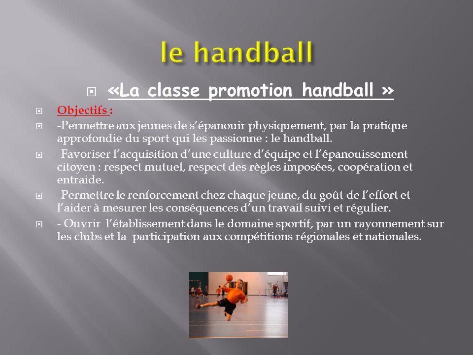 «La classe promotion handball »