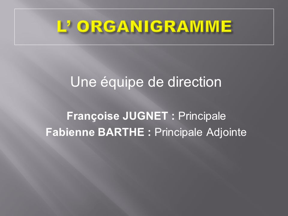 L' ORGANIGRAMME Une équipe de direction Françoise JUGNET : Principale