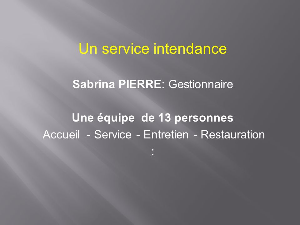 Un service intendance Sabrina PIERRE: Gestionnaire