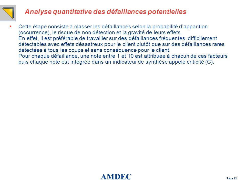 Analyse quantitative des défaillances potentielles