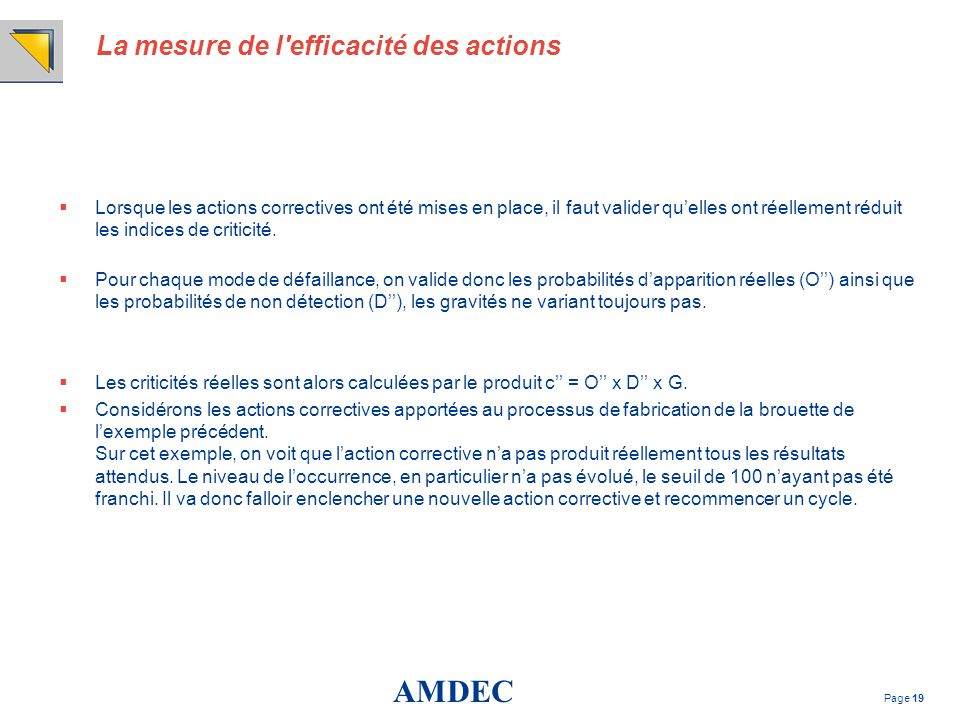 La mesure de l efficacité des actions