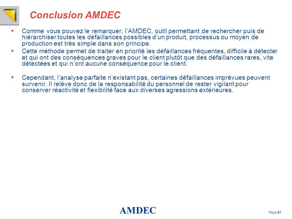 Conclusion AMDEC