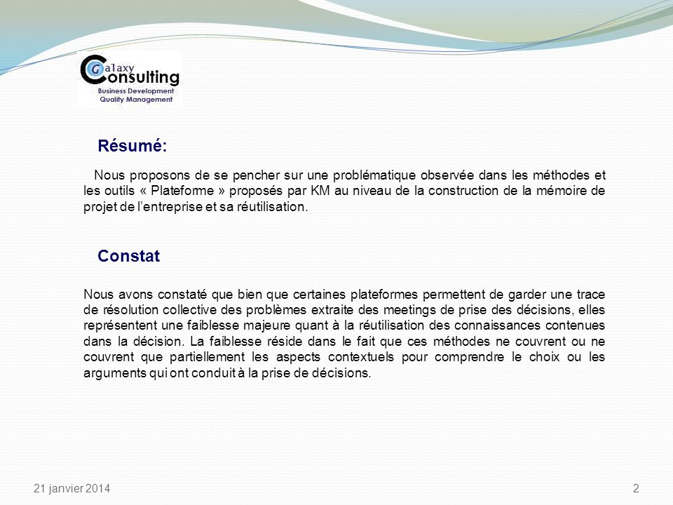 Knowledge Management 26 March 2017. Résumé:
