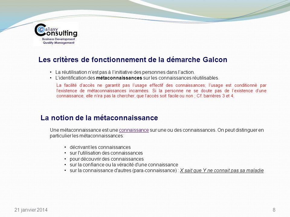 Les critères de fonctionnement de la démarche Galcon