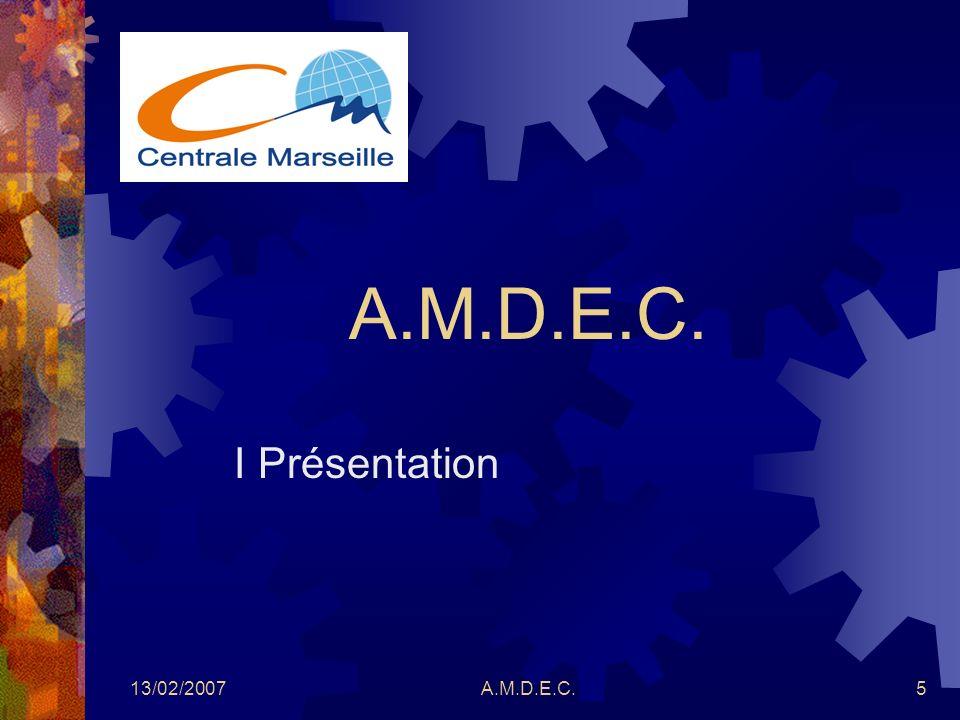 A.M.D.E.C. I Présentation 13/02/2007 A.M.D.E.C.