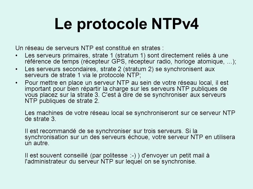 Le protocole NTPv4 Un réseau de serveurs NTP est constitué en strates :
