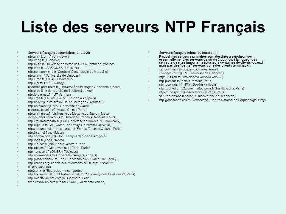 Liste des serveurs NTP Français