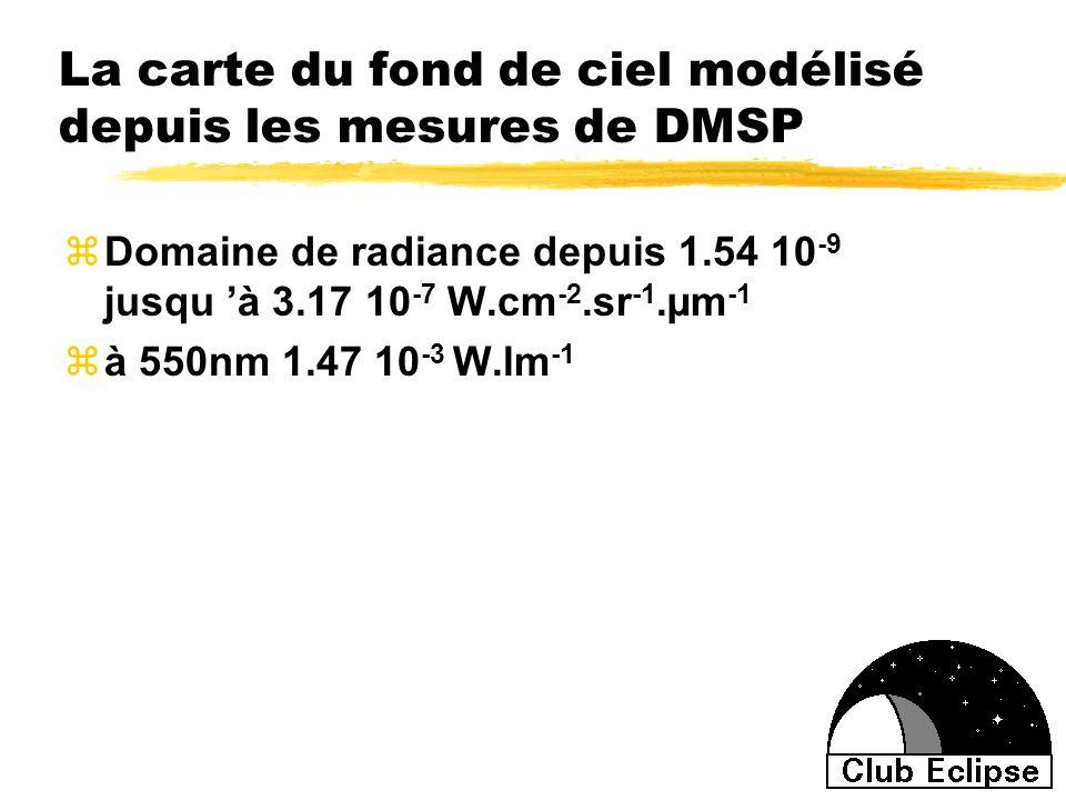 La carte du fond de ciel modélisé depuis les mesures de DMSP