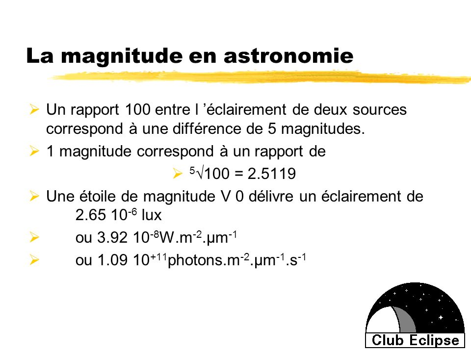 La magnitude en astronomie