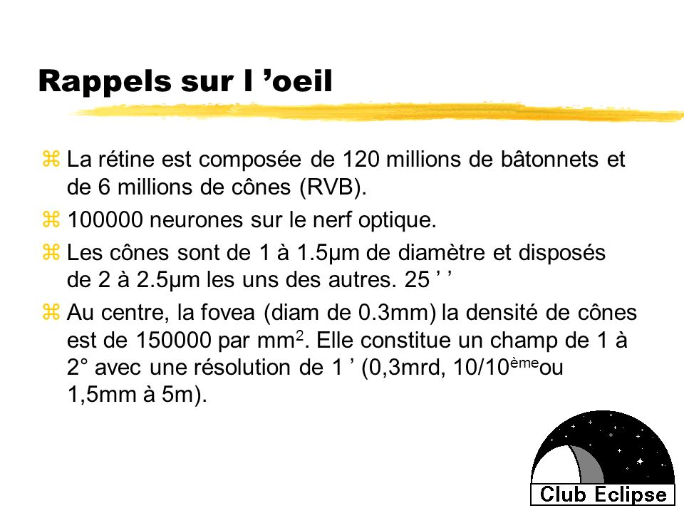 Rappels sur l 'oeil La rétine est composée de 120 millions de bâtonnets et de 6 millions de cônes (RVB).