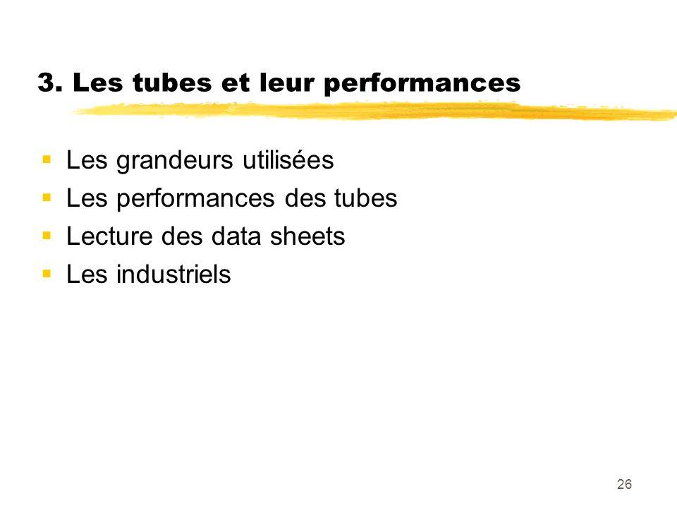3. Les tubes et leur performances