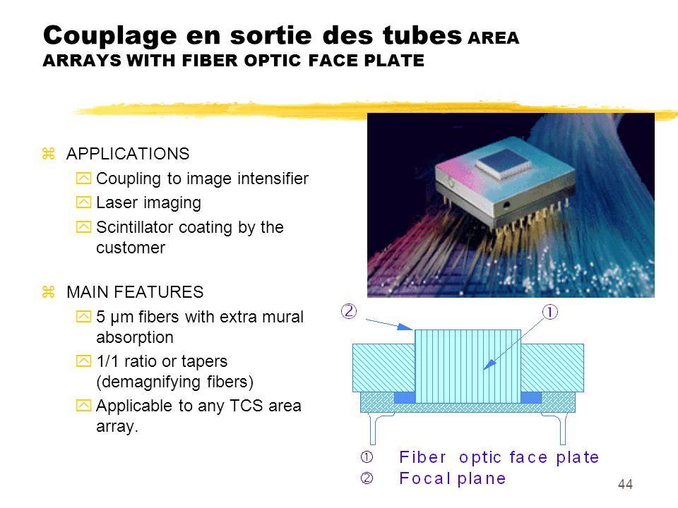 Couplage en sortie des tubes AREA ARRAYS WITH FIBER OPTIC FACE PLATE