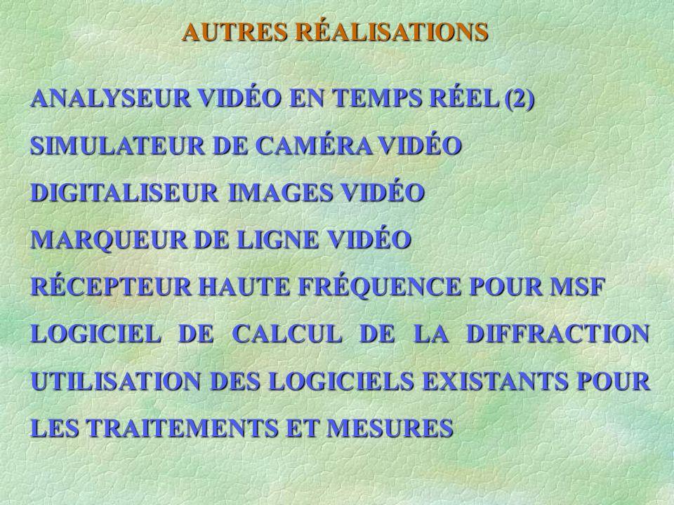 AUTRES RÉALISATIONS ANALYSEUR VIDÉO EN TEMPS RÉEL (2) SIMULATEUR DE CAMÉRA VIDÉO. DIGITALISEUR IMAGES VIDÉO.