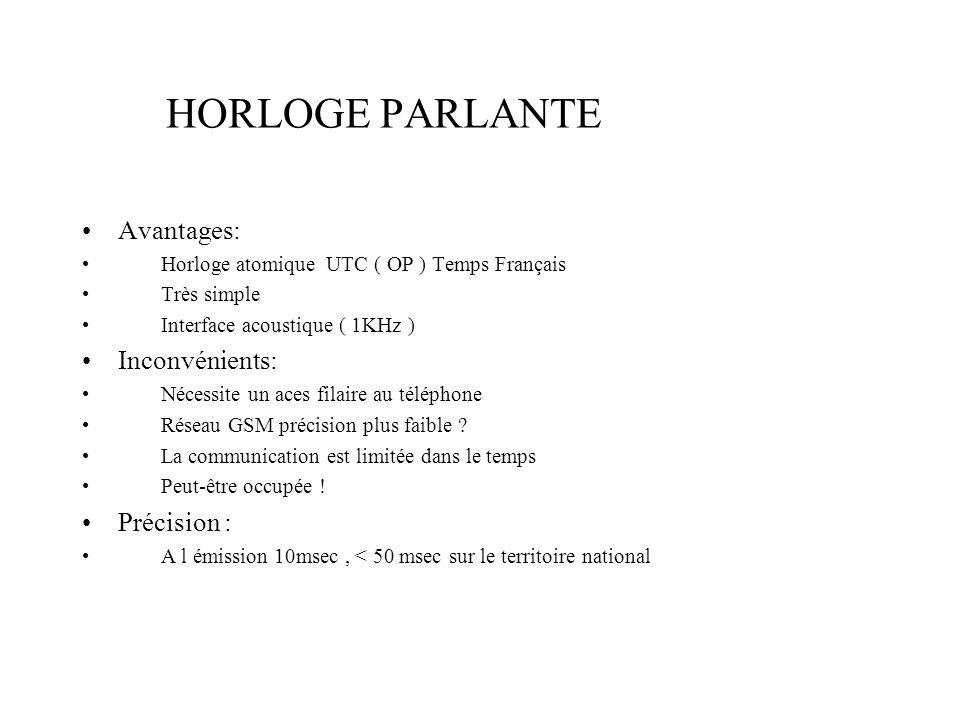 HORLOGE PARLANTE Avantages: Inconvénients: Précision :